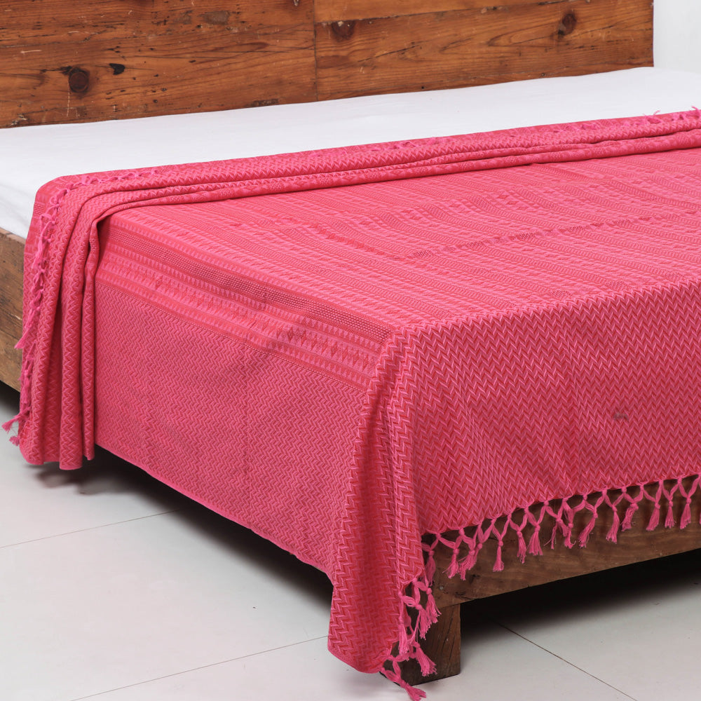 Pure Cotton Handloom Double Bedcover from Bijnor by Nizam (94 in x 108 in)