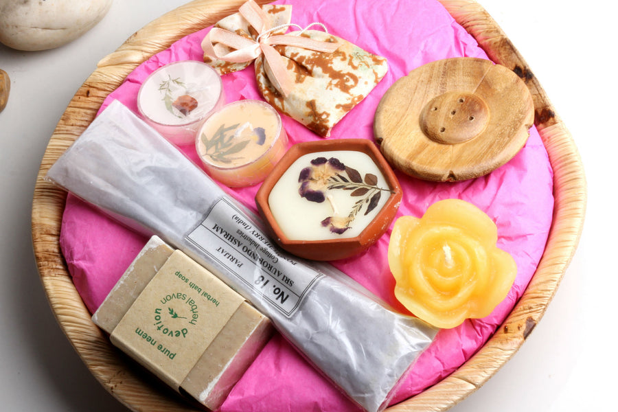 Sri Aurobindo Ashram - Areca Leaf Basket Gift Set (Assorted)
