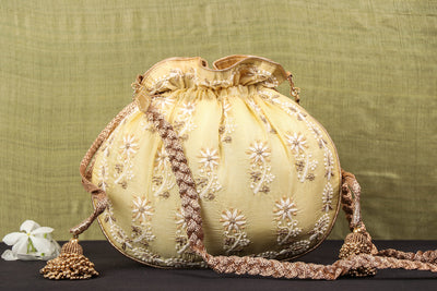Lucknow Chikankari Hand Embroidered Tussar Silk Potli Bag