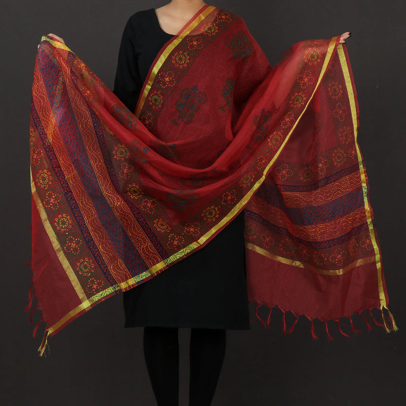 Jaipur Printed Art Kota Silk Dupatta with Zari Border