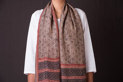 Bagh Block Print Natural Dyed Mulberry Silk Stole by Bilal Khatri