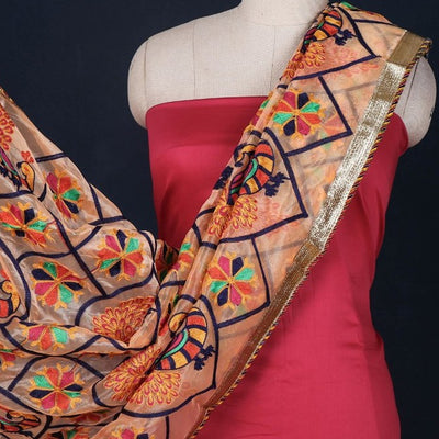 Phulkari Embroidered Cotton Gota Patti 3pc Suit Material Set with Net Dupatta