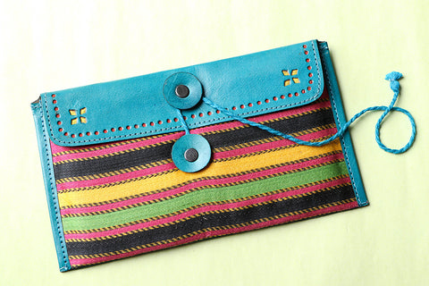 Leather With Mashru Silk Fabric Clutch Wallet
