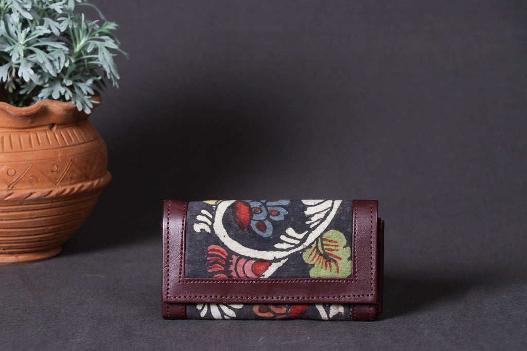 Wallet - Handpainted Kalamkari Natural Dyed Ghicha Silk