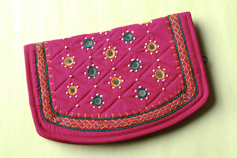 Hand Embroidered Mirror Work Clutch Wallet