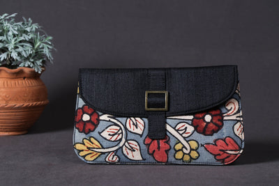 Clutch - Handpainted Kalamkari Natural Dyed Ghicha Silk