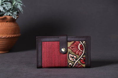 Card Holder Wallet - Handpainted Kalamkari Natural Dyed Ghicha Silk