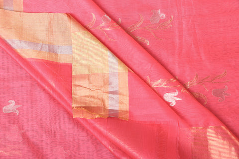 Chanderi Silk Zari Buti Handloom Saree with Blouse Piece