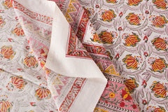 Sanganeri Hand Block Print Cotton Double Bed Cover (108 inches x 90 inches)