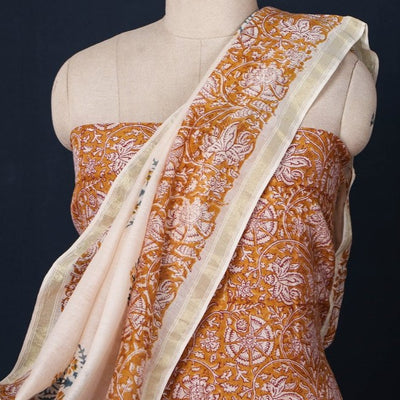 3pc Sanganeri Hand Block Printed Chanderi Silk Suit Material Set