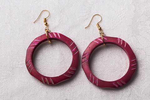 Handcarved Mango Wood Earrings