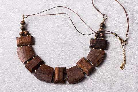 Handcarved Sheesham Wood Necklace
