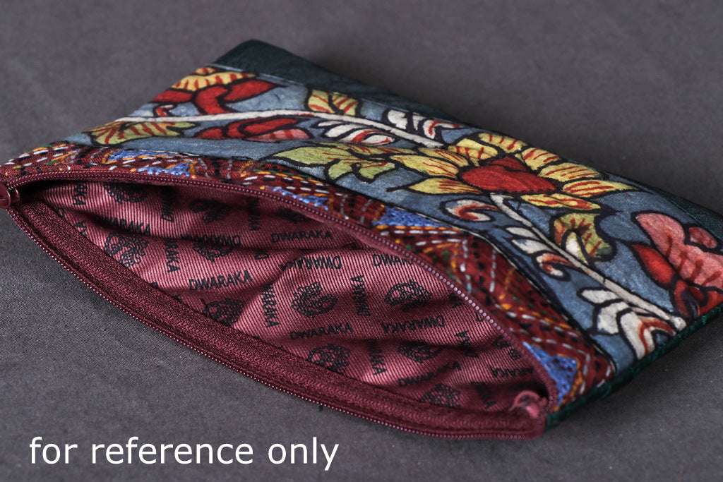 Jewelry Pouch - Handpainted Kalamkari Natural Dyed Silk Cotton