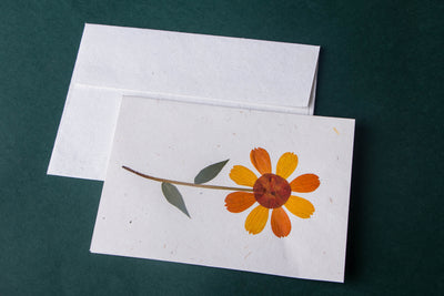 Intricate Flower Art Handmade Paper Greeting Card - Single Piece
