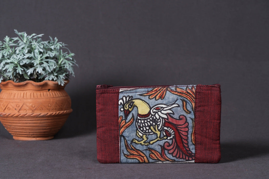 Jewelry Pouch - Handpainted Kalamkari Natural Dyed Cotton