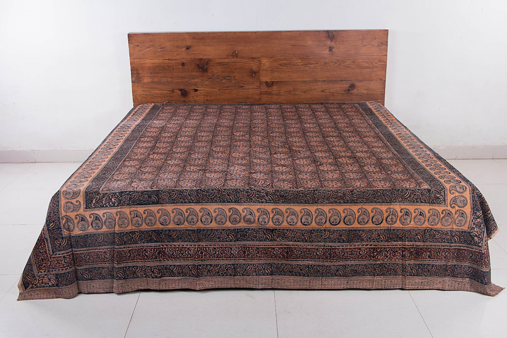 Original Pedana Kalamkari Block Printed Natural Dyed Cotton Double Bedcover (105x90 inches)