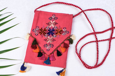 Soof Stitch Embroidery Pure Handloom Cotton Sling Mobile Pouch