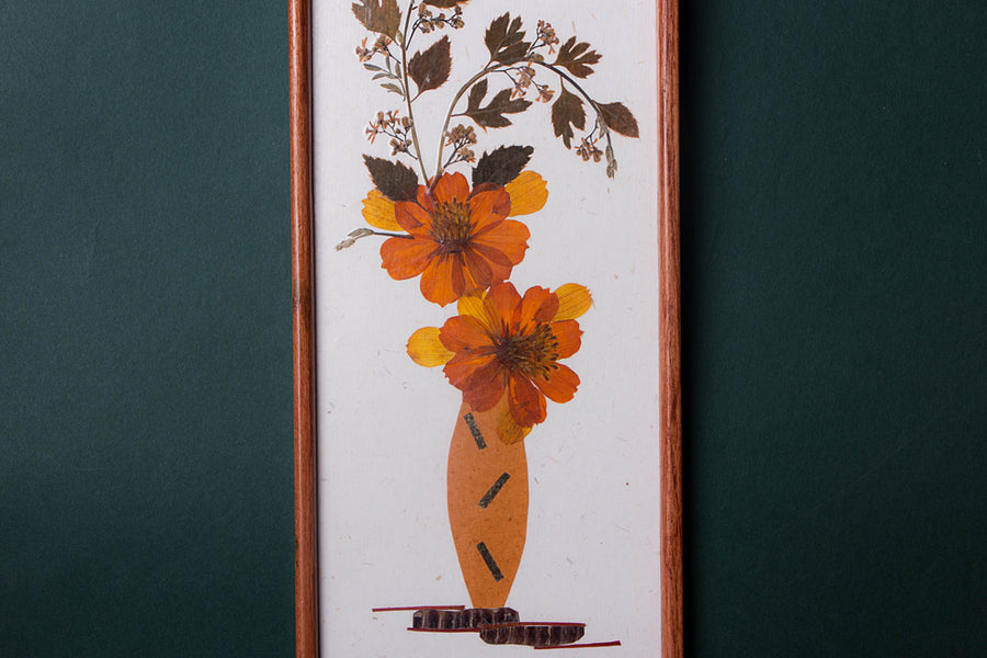 Classic Natural Flower Art Work Wall Hanging Wooden Frame