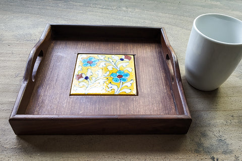 Ardu Wood Original Blue Pottery Ceramic Tile Tray (9in x 9in)