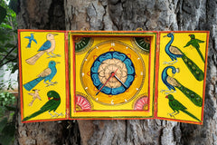 Kavad Katha Art Handpainted Wooden Wall Clock by Dwarika Prasad Jangid (8x8 inches)