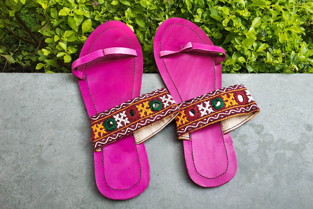 Kutch Embroidery Handstitched Leather Slipper (Size - 6)