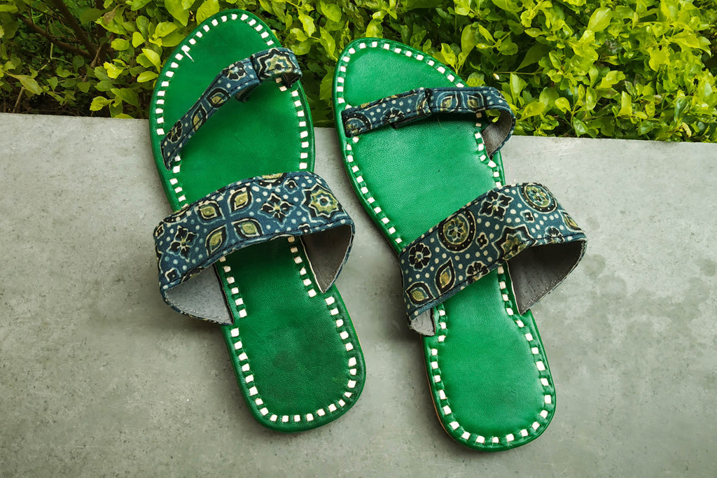Handstitched Kutch Leather Slipper (Size - 7)