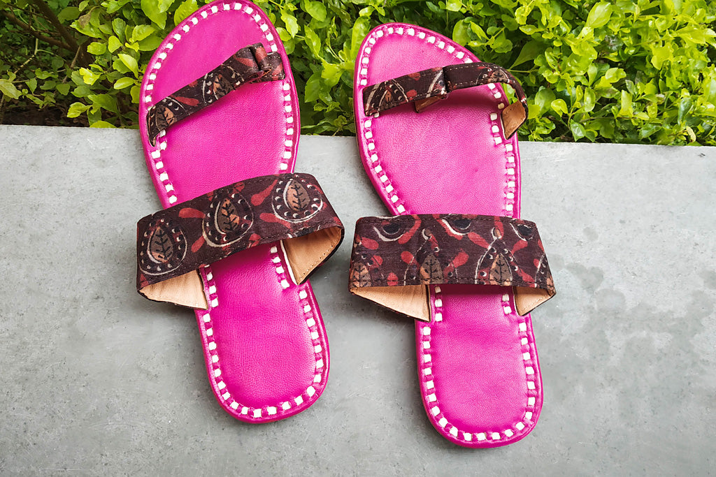 Handstitched Kutch Leather Slipper (Size - 6)