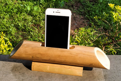 Handcarved Natural Bamboo Wood Phone Audio Amplifier Speaker