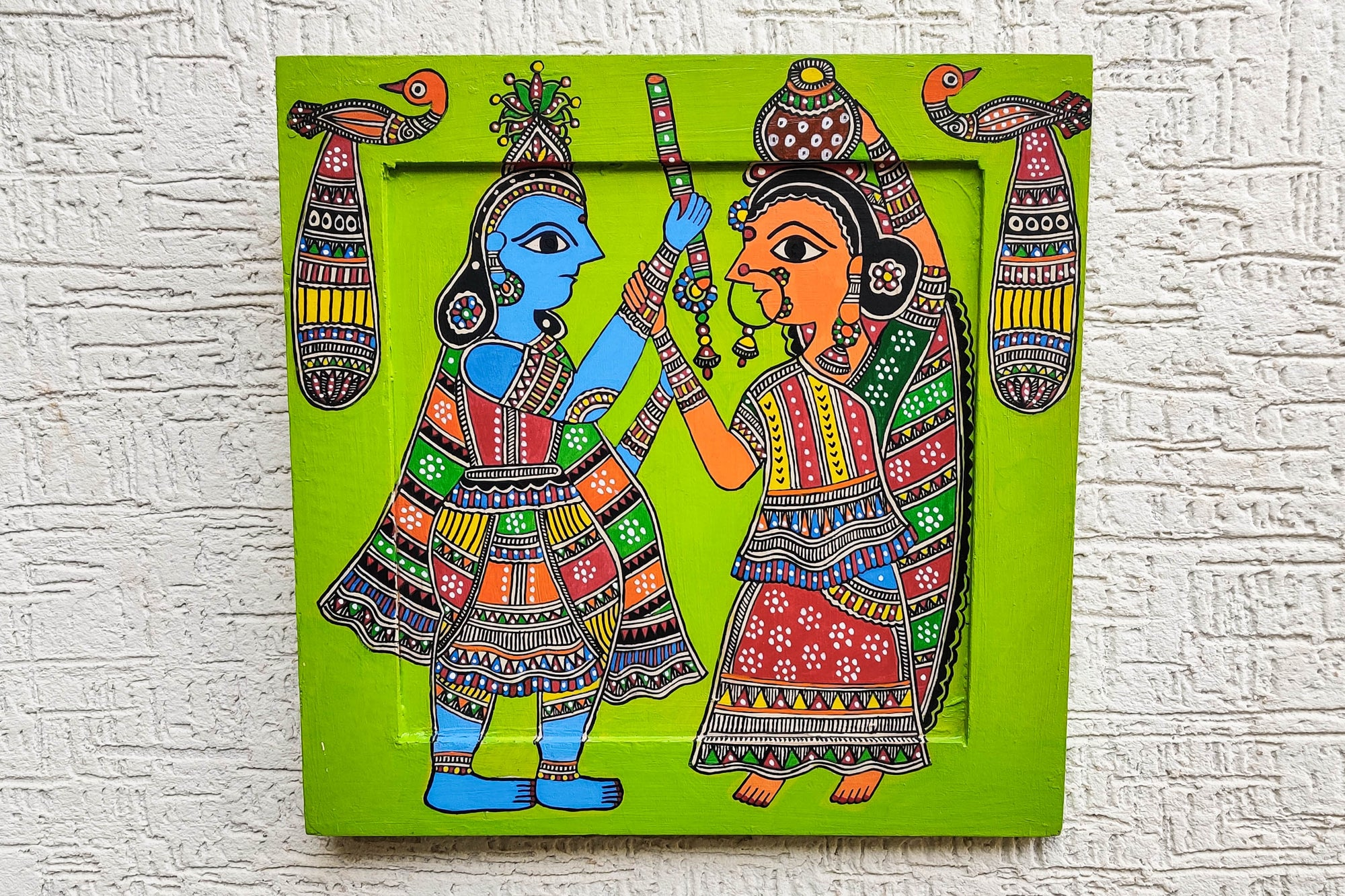 Traditional Madhubani Handpainted Wooden Wall Frame / Hanging (14 in x 14 in)