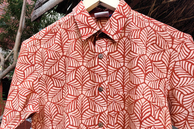 Block Art Prints Natural Dyed Cotton Men Half Sleeve Shirt