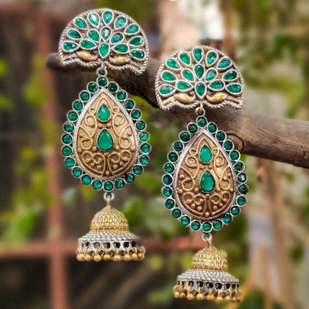 Dual Tone Stone Jhumki Earrings in Antique Finish Oxidised Special Brass Base