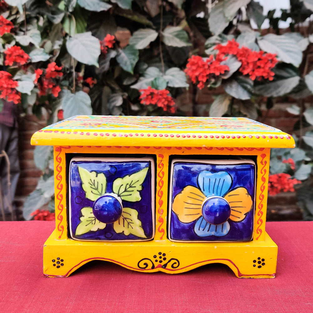 Neem Wood Hand Painted Blue Pottery Ceramic Double Drawer