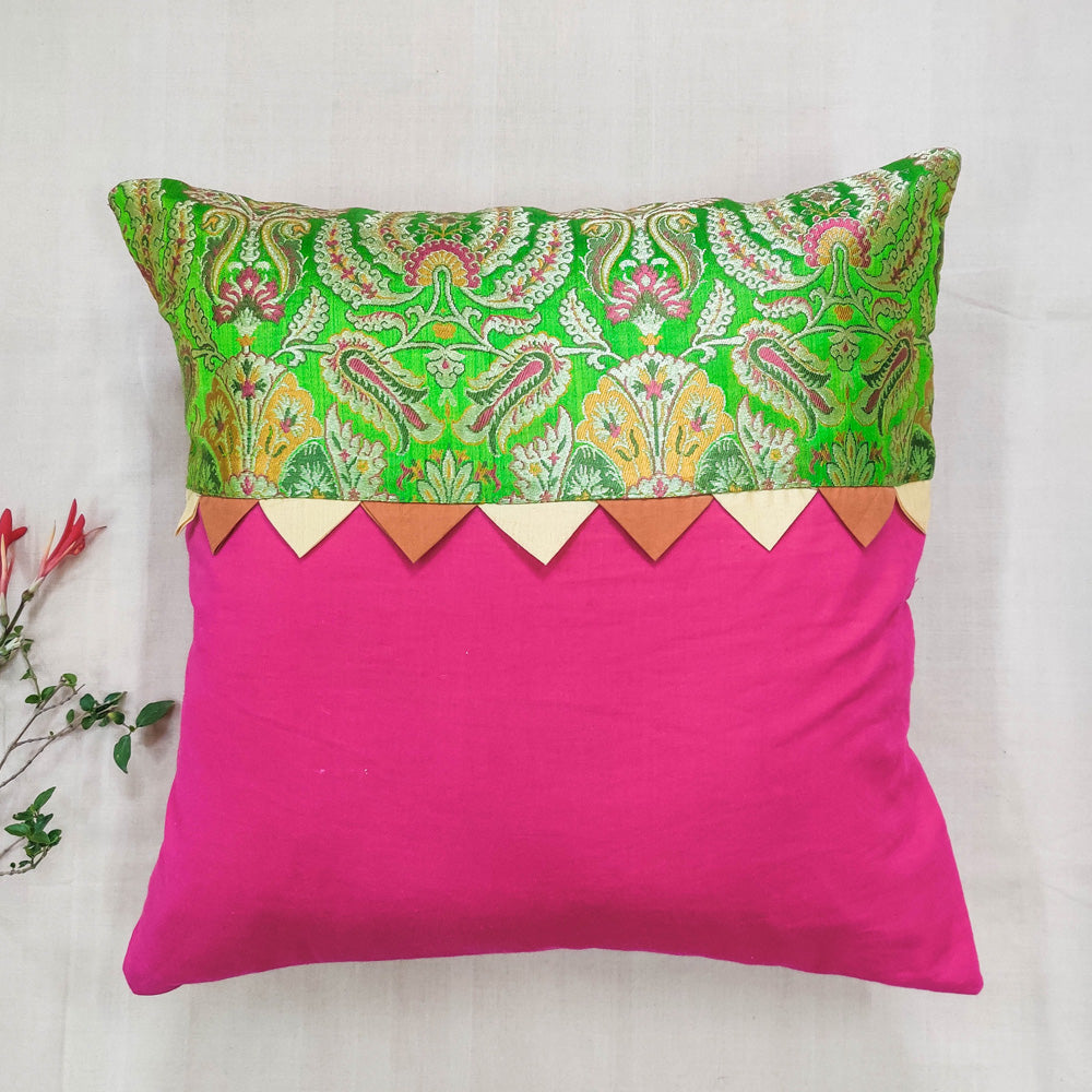Banarasi Brocade Kinkhab Cushion Cover (16 x 16 in)