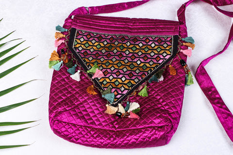 Soof Stitch Embroidery Pure Handloom Mashru Silk Sling Flap Bag