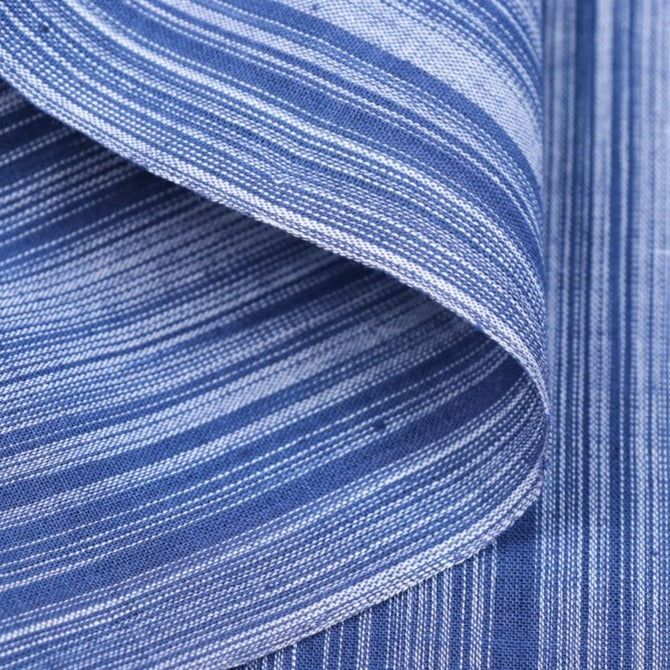Blue & White - Mangalgiri Handloom Dastkar Andhra Pre-Shrunk Cotton Fabric