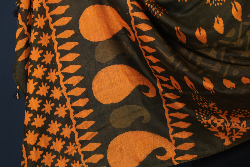 Mulberry Silk Bagru Block Print Handloom Dupatta with Tassels