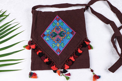 Soof Stitch Embroidery Pure Handloom Cotton Sling Flap Bag