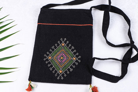 Soof Stitch Embroidery Pure Handloom Cotton Sling Bag