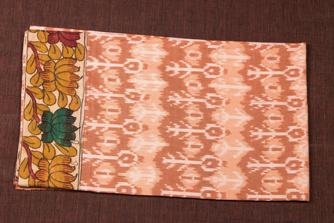 Handwoven Cotton Ikat with Kalamkari Penwork Border Blouse Piece