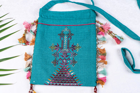Soof Stitch Embroidery Pure Handloom Cotton Sling Potli Bag