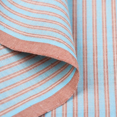 Sky Blue & Rose Orange - Mangalgiri Handloom Dastkar Andhra Pre-Shrunk Stripe Cotton Fabric