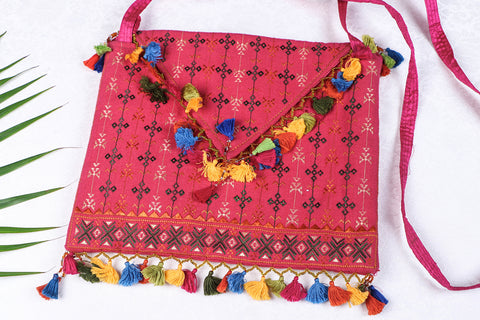 Soof Stitch Embroidery Full Work Pure Handloom Cotton Sling Bag
