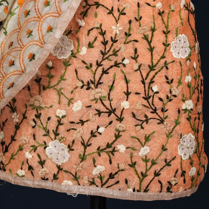 Phulkari Embroidered Silk Cotton Gota Patti 3pc Suit Material Set