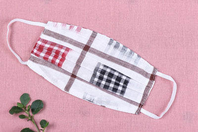 Special Sambalpuri Ikat Handloom Cotton Fabric 3 Layer Pleated Snug Fit Face Cover