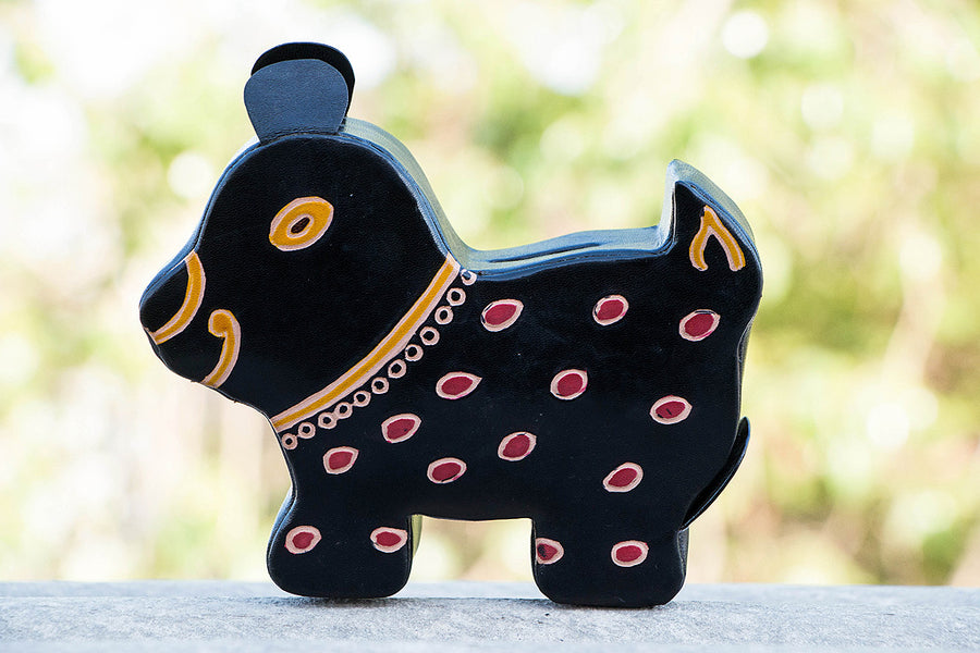 Handcrafted Leather  Money Bank - Dog