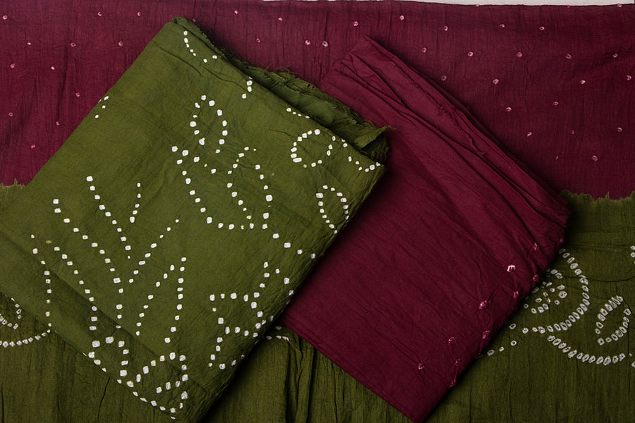 Kutchhi Bandhani 3pc Cotton Suit Material Set