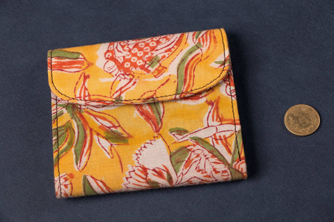 Unisex Flap Wallet with Block Print Fabric