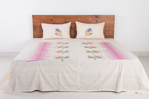 Moirangphee Manipuri Cotton Traditional Pure Handloom Double Bed Cover with Pillow Covers
