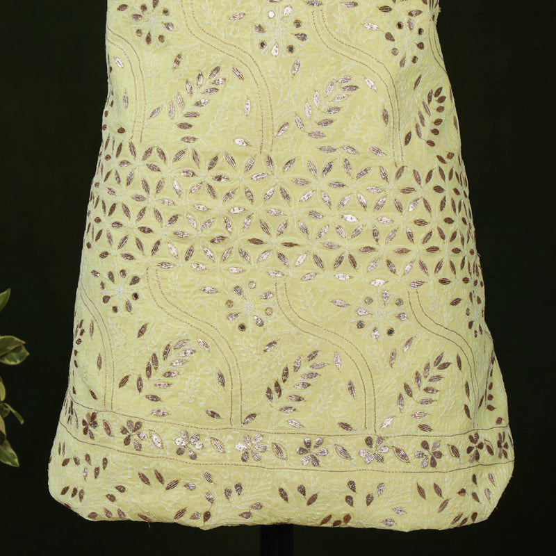Chikankari Hand Embroidered Gota Patti Pure Cotton Kurta Material