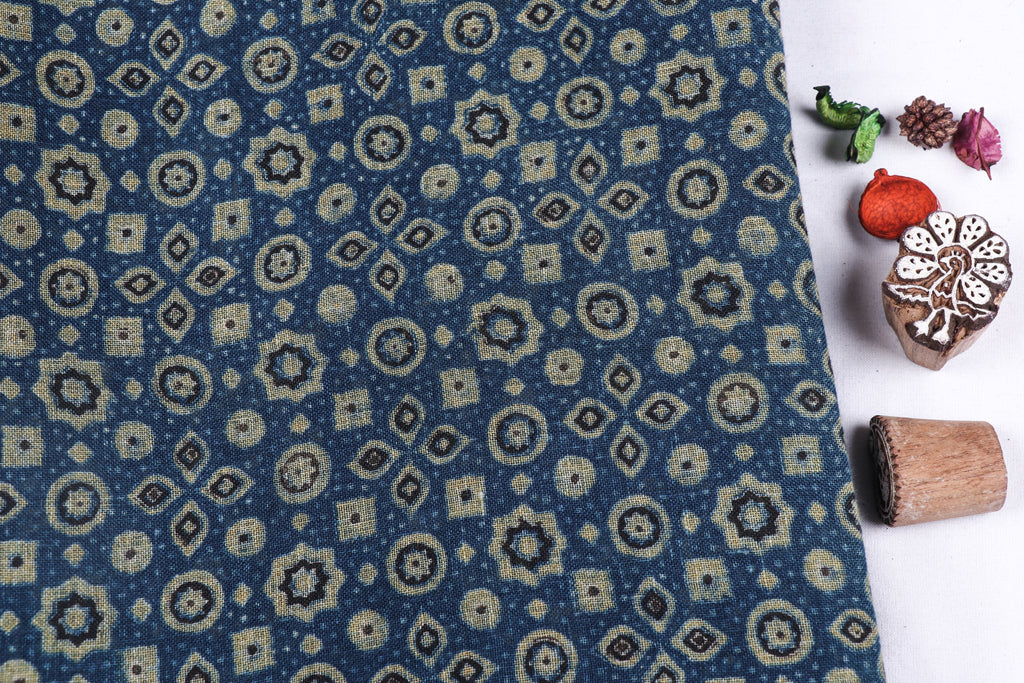 Ajrakh Hand Block Print Natural Dyed Linen Fabric